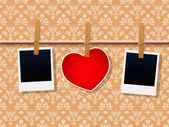 Photo Frames And Heart On Rope — Stock Vector
