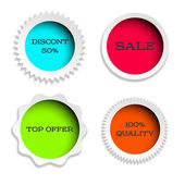 Four multicolored label — Stock Vector