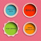 Four multicolored label — Stock Vector