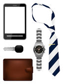 Business man accessories set — Stock Vector
