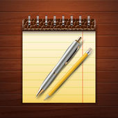 Note Pad, Pencil and Pen on Wood Background — Vector de stock