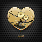 Metal steampunk heart with gears — Vector de stock