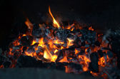 Live coals in the stove — Stock Photo