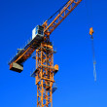 Part of crane against blue sky — Stock Photo #2622552