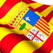 Flag of Aragon, Spain. — Stockfoto