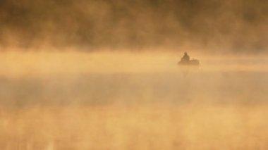 Pêche du matin sur la rivière dans le brouillard — Vidéo
