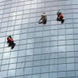Window cleaners at work — Stock Video #12600267