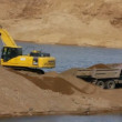 Sandpit - excavator and tipper — Stock Video