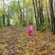Baby girl walking in autumn park — Stock Video