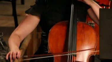 Close-up view on violoncello in orchestra - timelapse — Stock Video