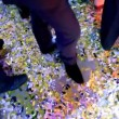 Stock Video: Dancing feet of men at party