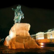 Stock Video: Peter 1 monument at night in Saint-petersburg, Russia
