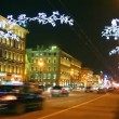Nevsky Prospect in St. Petersburg at Christmas night - timelapse — Stock Video