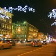 Nevsky Prospect in St. Petersburg at Christmas night — Stock Video