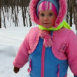 Baby girl walking in winter park — Stock Video