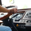 Man's hand driving in bus — Vidéo