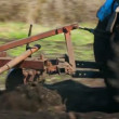 Tractor plowing at spring — Stock Video