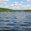 Summer lake with waves under blue sky — Stock Video