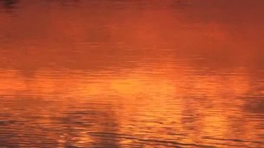 Red sunrise reflection in the river — Vidéo