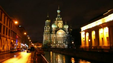 Savior on Blood - Christ the Savior Cathedral in St. Petersburg at night, timelapse — Stock Video