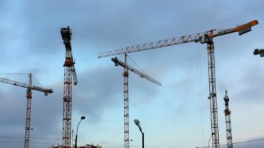 Working construction cranes - timelapse — Stock Video