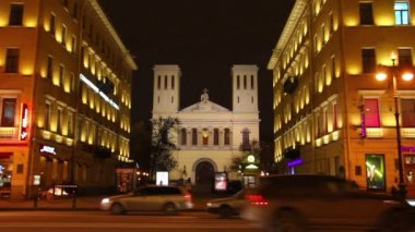 Church on Nevsky Prospect in St. Petersburg, Russia — Stock Video