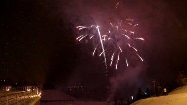 Celebration fireworks at winter — Stock Video
