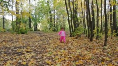 Baby girl in autumn park — Stock Video