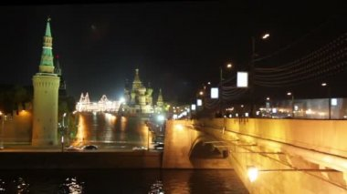 Moscow Kremlin night landscape - timelapse — Stockvideo