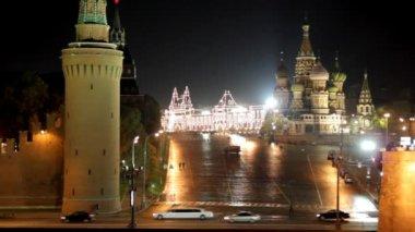 Paysage de nuit Moscou kremlin — Vidéo