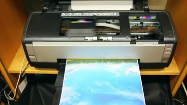 Inkjet printer color photo prints — Stock Video