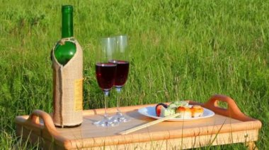 Picnic - tabe with wine and japanese food — Stock Video