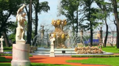 Parque jardín renovado verano en san petersburgo rusia — Vídeo de Stock