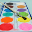 Set of water-colour paints and brush — Stock Photo #14248367