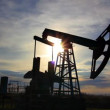 Stock Video: Working oil pump at sunset