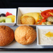 Lunch in airplane - Stock Photo