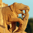 Stock Photo: Elephants on hinduism temple