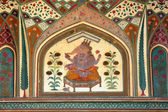 Paint on wall of palace in Jaipur fort — Stock Photo