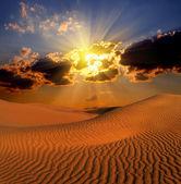 Dramatické suset krajina v poušti — Stock fotografie