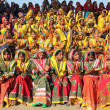 Large group of Indian girls in colorful ethnic attire — Стоковая фотография