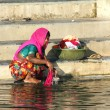 Indian woman washing clothes in the lake — Stock Photo
