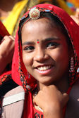 Portrait of Indian girl Pushkar camel fair — Stock Photo