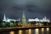Kremlin from river at night in Moscow — Stock Photo