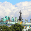Roof of hermitage and alexander column in St. Petersburg — Stock Photo