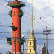 Stock Photo: St. Petersburg - rostral column and Cathedral inl Fortress