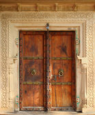 Old wooden closed door — Stock Photo