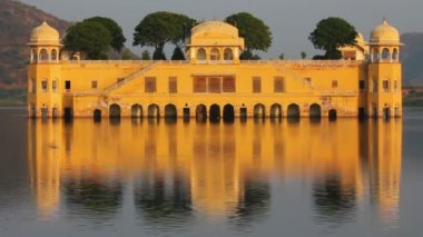 Jal mahal - palace on lake in Jaipur India — Stock Video