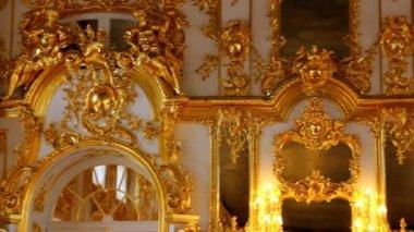 プーシキン サンクトペテルブルク ホール宮殿のインテリア — ストックビデオ