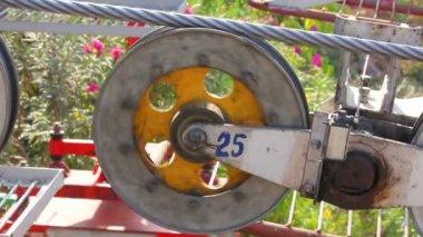 Funicular wheel closeup — Stock Video
