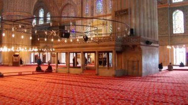 Sultanahmet mosque interior in istanbul turkey — Stock video